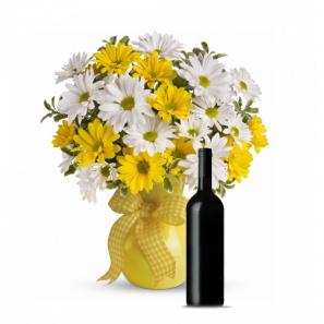 Sunshine Daises & Red Wine Gift Set