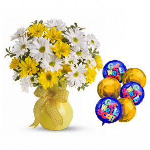 """""""Get Well"""" Balloons & Daisies"""