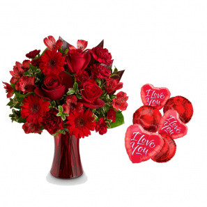 """The """"I love you"""" Roses & Balloons Gift Set"""